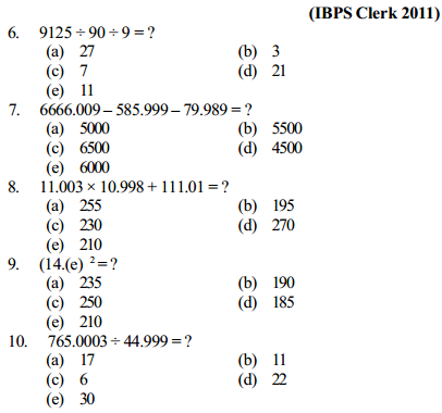 Approximation Questions for IBPS Clerk 6