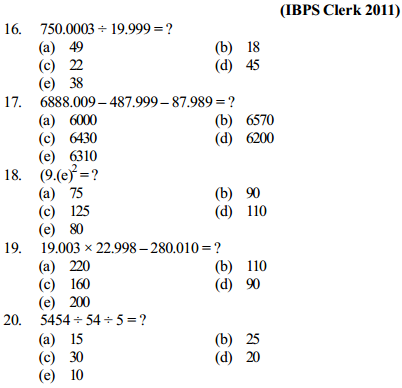 Approximation Questions for IBPS Clerk 8