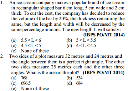 Area and Perimeter Questions for IBPS PO 6