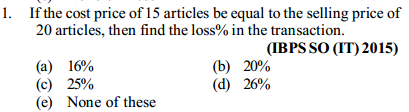 Profit and Loss Questions for IBPS SO 3