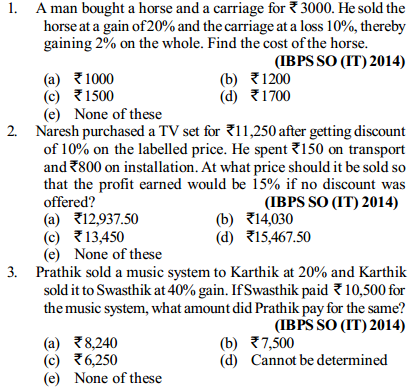 Profit and Loss Questions for IBPS SO 5