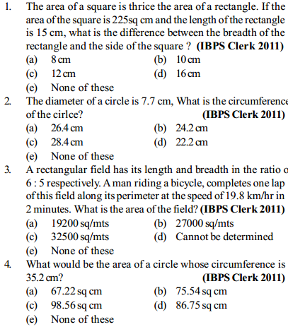 Area and Perimeter Questions for IBPS Clerk 12