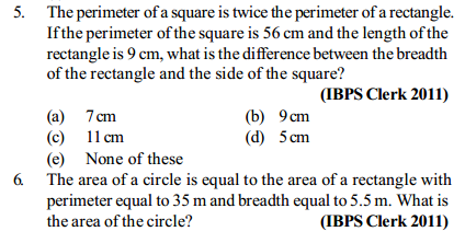 Area and Perimeter Questions for IBPS Clerk 13