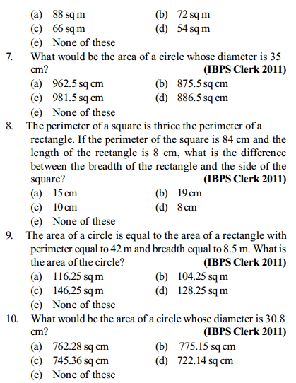 Area and Perimeter Questions for IBPS Clerk 14