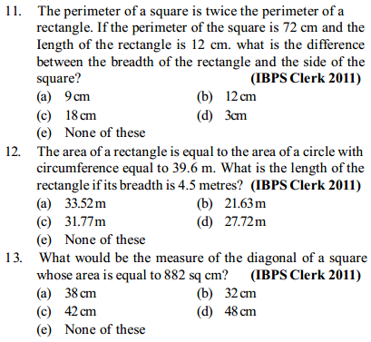 Area and Perimeter Questions for IBPS Clerk 15