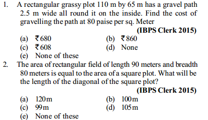 Area and Perimeter Questions for IBPS Clerk 3