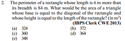 Area and Perimeter Questions for IBPS Clerk 8