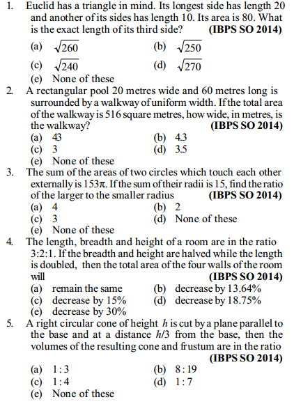 Area and Perimeter Questions for IBPS SO 5