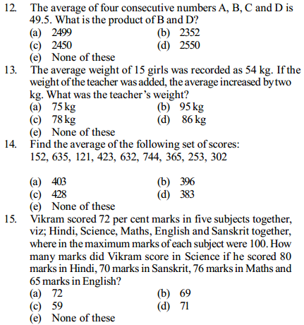 Average Questions for IBPS Clerk 12