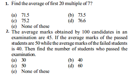 Average Questions for IBPS Clerk 2