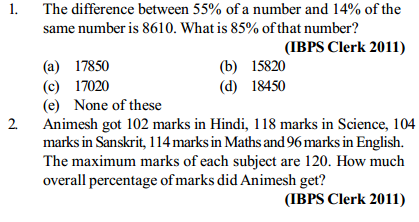 Percentage Questions for IBPS Clerk 14