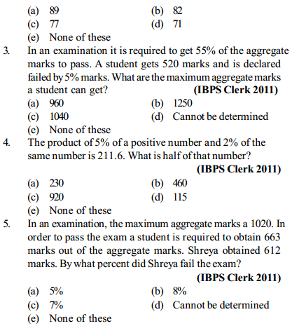Percentage Questions for IBPS Clerk 15