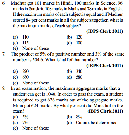 Percentage Questions for IBPS Clerk 16