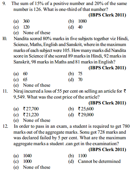 Percentage Questions for IBPS Clerk 17