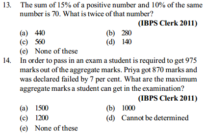 Percentage Questions for IBPS Clerk 18