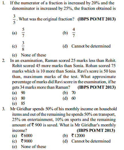 Percentage Questions for IBPS PO 13
