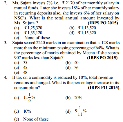 Percentage Questions for IBPS PO 6