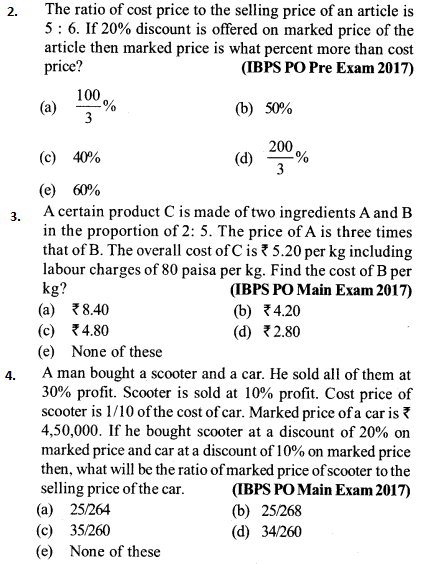 Profit and Loss Questions for IBPS PO 2