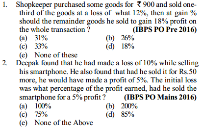Profit and Loss Questions for IBPS PO 6