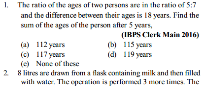 Ratio and Proportion Questions for IBPS Clerk 1