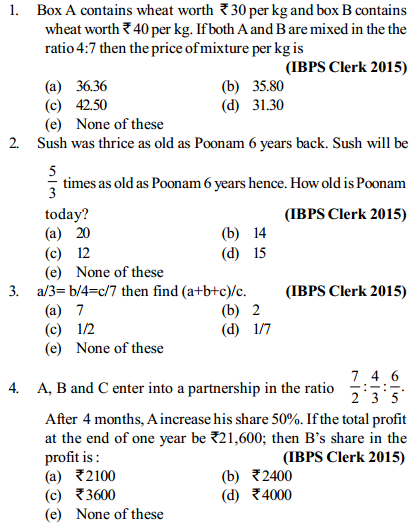 Ratio and Proportion Questions for IBPS Clerk 4
