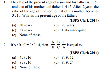 Ratio and Proportion Questions for IBPS Clerk 9