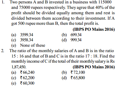 Ratio and Proportion Questions for IBPS PO 11