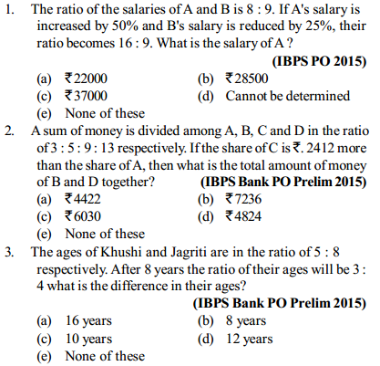 Ratio and Proportion Questions for IBPS PO 13