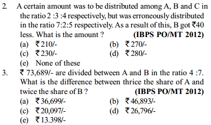 Ratio and Proportion Questions for IBPS PO 19