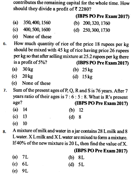 Ratio and Proportion Questions for IBPS PO 3