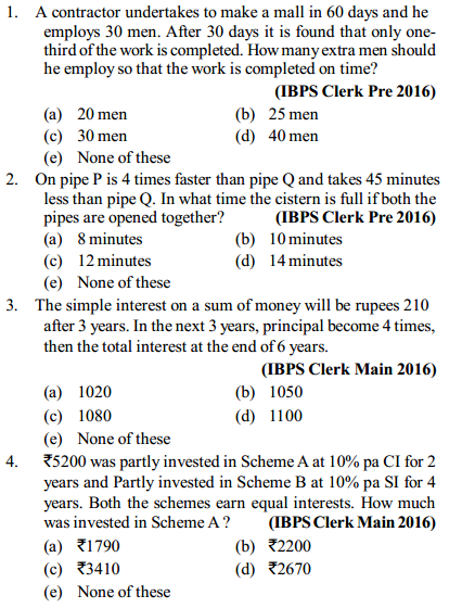 Simple Interest and Compound Interest Questions for IBPS Clerk 1