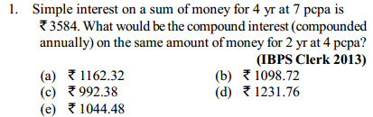 Simple Interest and Compound Interest Questions for IBPS Clerk 12