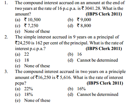 Simple Interest and Compound Interest Questions for IBPS Clerk 14