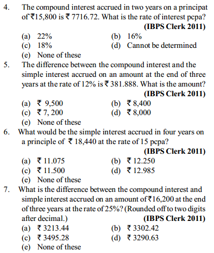 Simple Interest and Compound Interest Questions for IBPS Clerk 15