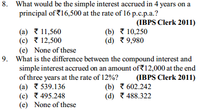 Simple Interest and Compound Interest Questions for IBPS Clerk 16