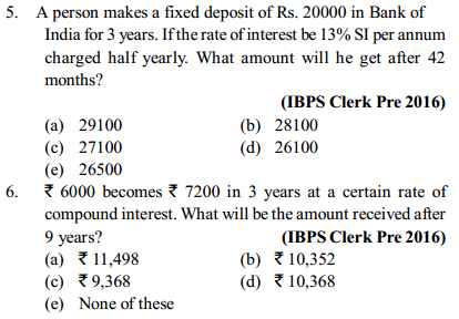 Simple Interest and Compound Interest Questions for IBPS Clerk 2