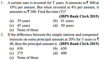 Simple Interest and Compound Interest Questions for IBPS Clerk 6