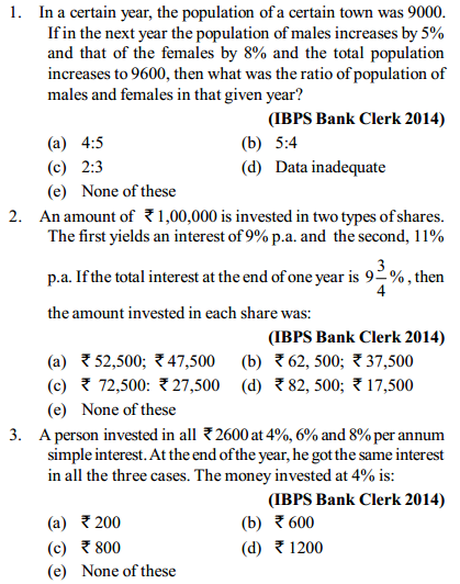 Simple Interest and Compound Interest Questions for IBPS Clerk 9