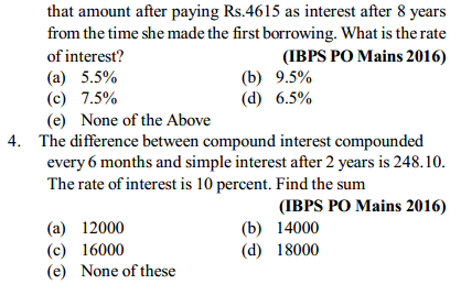 Simple Interest and Compound Interest Questions for IBPS PO 4