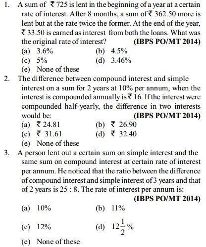 Simple Interest and Compound Interest Questions for IBPS PO 6