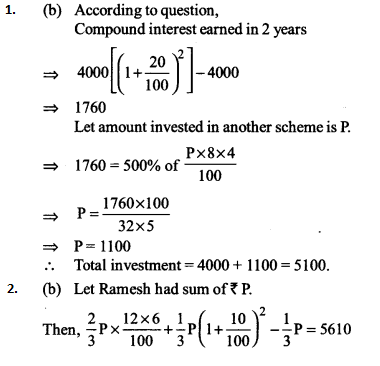 Simple Interest and Compound Interest Questions for IBPS RRB 2