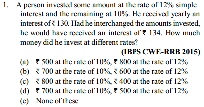 Simple Interest and Compound Interest Questions for IBPS RRB 4
