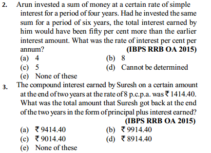 Simple Interest and Compound Interest Questions for IBPS RRB 6