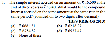 Simple Interest and Compound Interest Questions for IBPS RRB 8