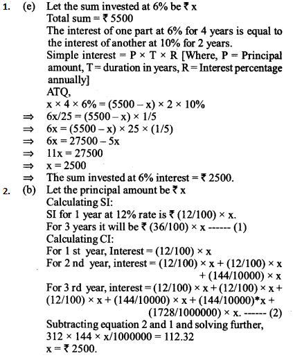 Simple Interest and Compound Interest Questions for IBPS SO 2