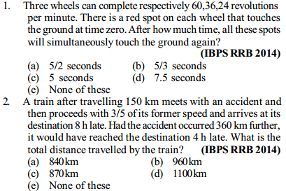 Time, Speed and Distance Questions for IBPS RRB 10