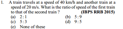 Time, Speed and Distance Questions for IBPS RRB 5