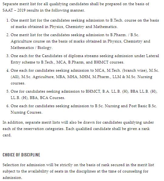 SAAT Merit List
