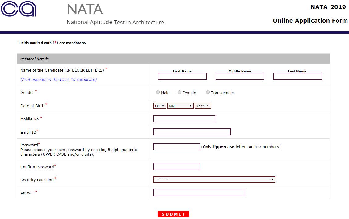 NATA 2019 Registartion