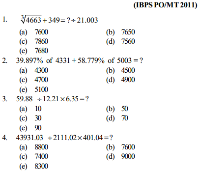 Approximation Questions for IBPS PO 13